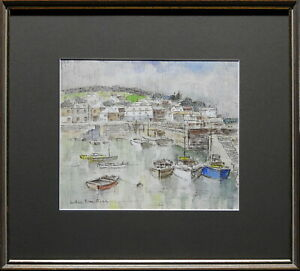 Arthur-Evan-Read-1911-1978-Original-Painting-Tranquil-Bay-Mousehole-Cornwall