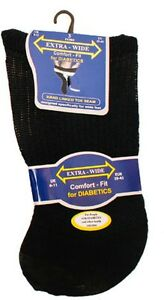 3 Pairs Ladies Diabetic Socks EXTRA WIDE Non Elastic with Hand Linked Toes Multi