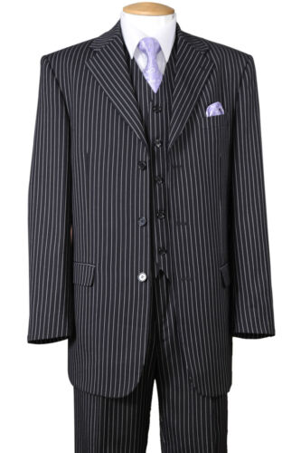 New Men/'s Classic Gangster Stripe Wool Feel Suits w// Vest and Pants