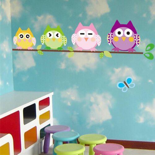 Couleur Hibou Oiseaux Arbre Kids Nursery Chambre De Bébé Murale Décor Art Mural Décalque Autocollant