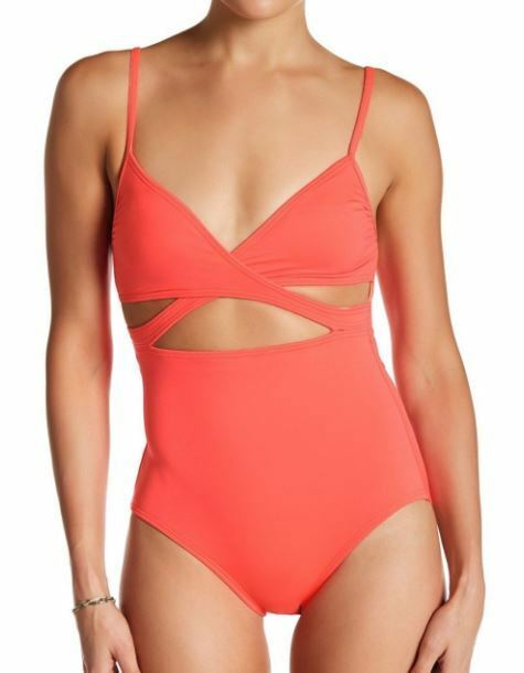 Vince Camuto Coral Polish Wrap 1 Pc Swimsuit. Size 10 Style V66283