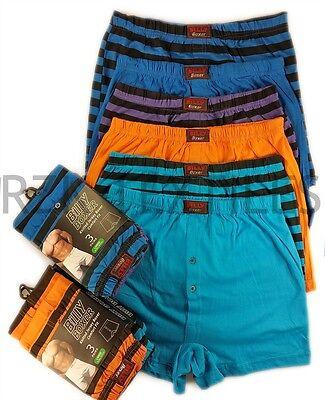 6 Pairs Men's Stripe Boxer Shorts, Cotton Rich Designer Underwear Boxer S M L XL