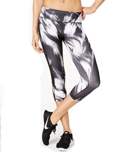 Ideology Women/'s Printed Capri Leggings Mesh Panel Black//White XS NWT