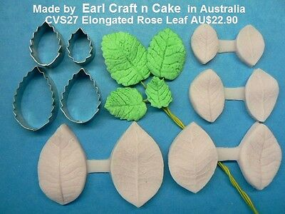 Elongated Rose Leaf Cutter & Veiner Cake Decorating Sugar Flower Gum Paste Tools
