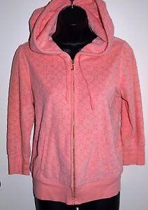 Juicy-Couture-Size-Medium-Women-039-s-Pink-Raised-Logo-3-4-Sleeve-Zip-Hoodie