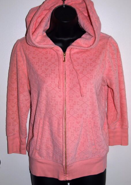 Juicy Couture Size Medium Women's Pink Raised Logo 3/4 Sleeve Zip Hoodie