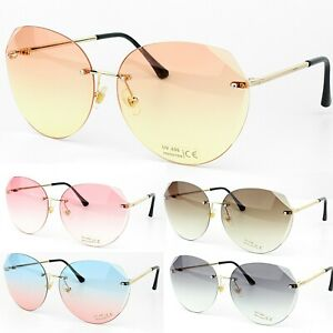 Damen Transparent Rahmenlosen Luxus Schick Retro Sonnenbrille UV400 Schutz
