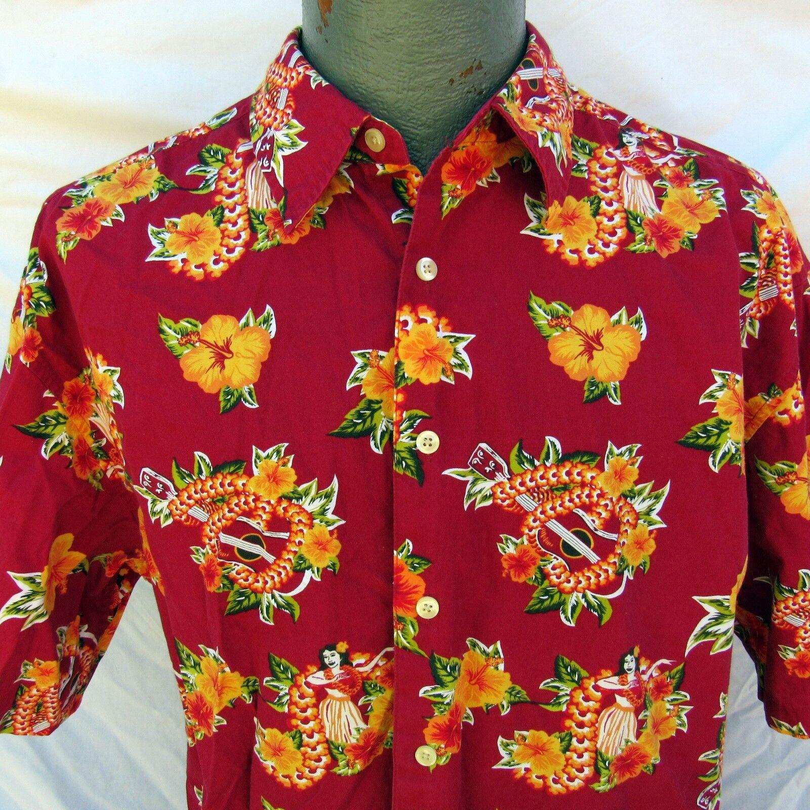 Hawaiian Aloha Shirt Size Large Wahine Ukulele Hibiscus Lei Hula Girl