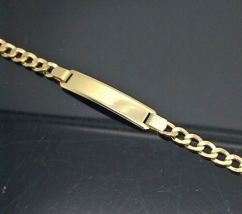 Gold Baby Bracelet 10k Real Gold 6 inch Cuban with ID Brand New