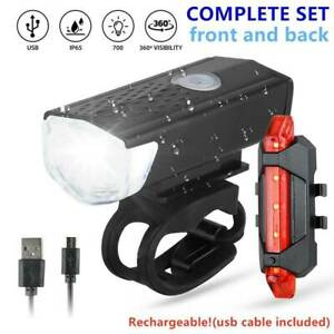 USB Rechargeable LED Bicycle Bike Front Rear Tail Lights Set Safety Warning Lamp
