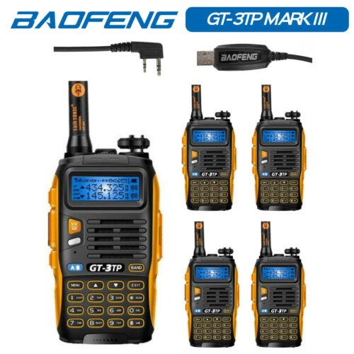 Cable/&CD 5* Baofeng GT-3TP MarkIII 1//4//8W HP 2m//70cm Band VHF UHF Transceiver