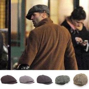 Mens Newsboy Cap Peaky Blinders Baker Boy Flat Check Grandad Hat Black /  Brown | eBay