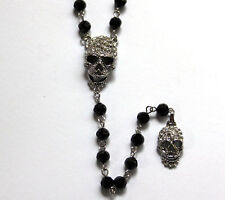 Butler and Wilson Clear Crystal 2 Skull Y Bead Necklace NEW