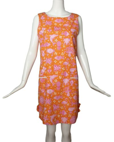 LILLY PULITZER-1990s Orange Cotton Print Dress, Si