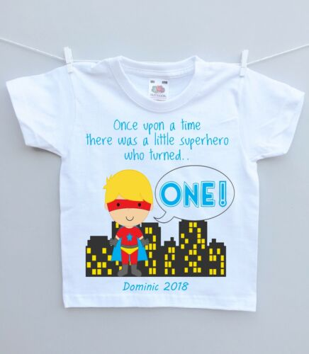 Personalised childs tshirt top Birthday Party Gift any age name superhero boy