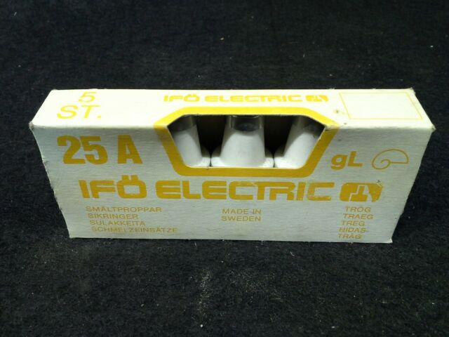 IFO ELECTRIC 25A 500V Ceramic Bottle Fuse Box of 5
