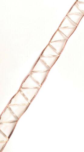 1m//0,10 € dekoband 20m x 25mm organza zigzag rosa malva-oro bucles banda #3073