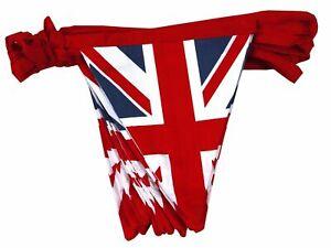 Vintage-British-Union-Jack-Textile-Flag-Cloth-Fabric-Bunting-Banner-10M-VE-DAY