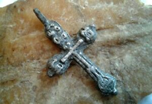 ANTIQUE-c-17-18th-CENTURY-SOLID-SILVER-034-OLD-BELIEVERS-034-ORTHODOX-034-SKULL-034-CROSS