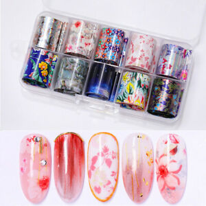 10-Rolls-Box-Nail-Foils-Starry-Sky-Flower-Holographic-Transfer-Stickers-Decals