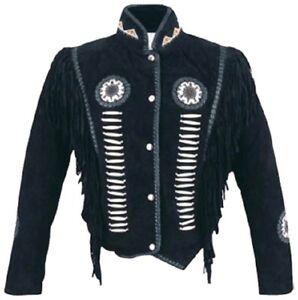 à Western Cowboy cuir et Manteau Veste en daim Wear Femmes en franges perles a0qFfAwx