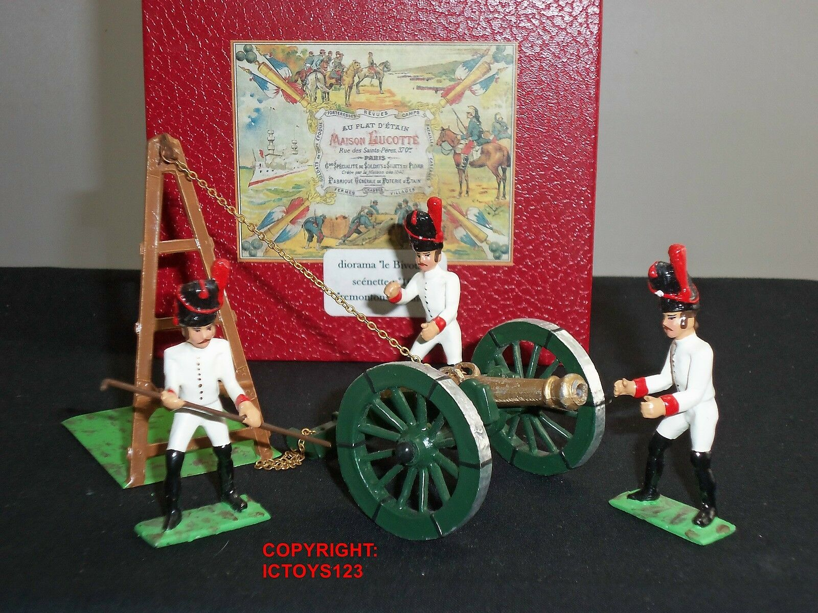 MAISON LUCOTTE CBG MIGNOT FRENCH IMPERIAL GUARDS REMOUNTING CANNON FIGURE SET