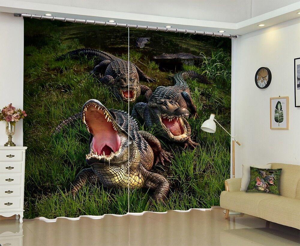 3D Cocodrilo pajar 53 Blockout Foto Impresión De Cortina Tela Cortinas Ventana CA