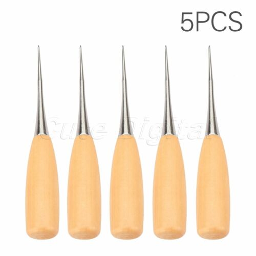 5X Leathercraft Stitching Sewing Wood Handle Awl Professional Punching Hole Tool