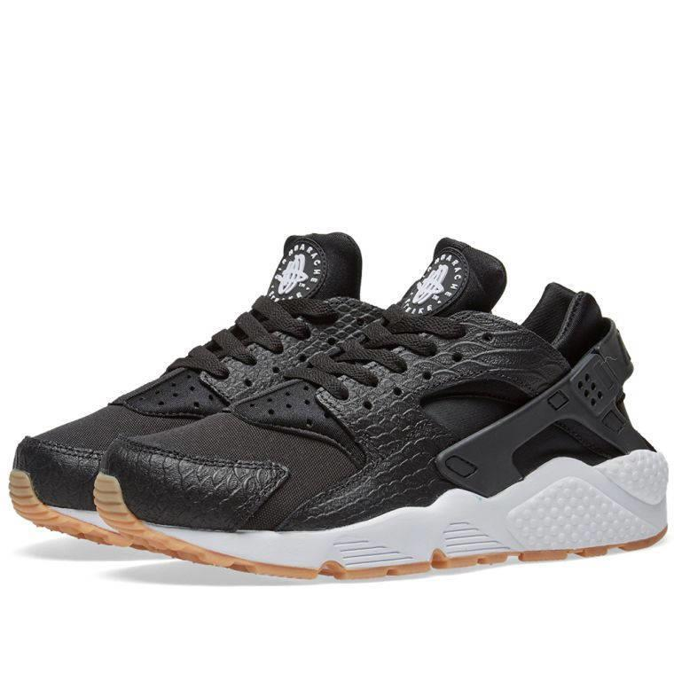 NIKE WMNS AIR HUARACHE RUN SE 859429 005 BLACK/GUM YELLOW SOLE-WHITE - SNAKE