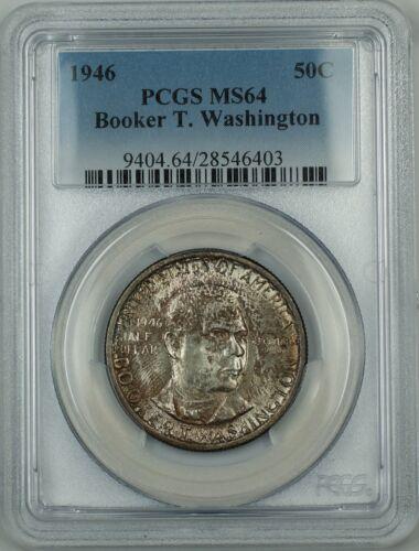 Washington Commemorative Silver Half Dollar Coin PCGS MS-64 Toned 1946 Booker T