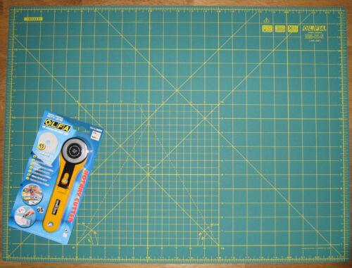 Olfa cortador rotatorio rty-2 G /& Cutting Mat rm-ic-s 24 pulgadas X 18 Pulgadas Tela Cuero Papel