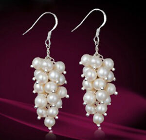 Genuine-White-Cultured-Freshwater-Pearl-Cluster-Dangle-Sterling-Silver-Earrings