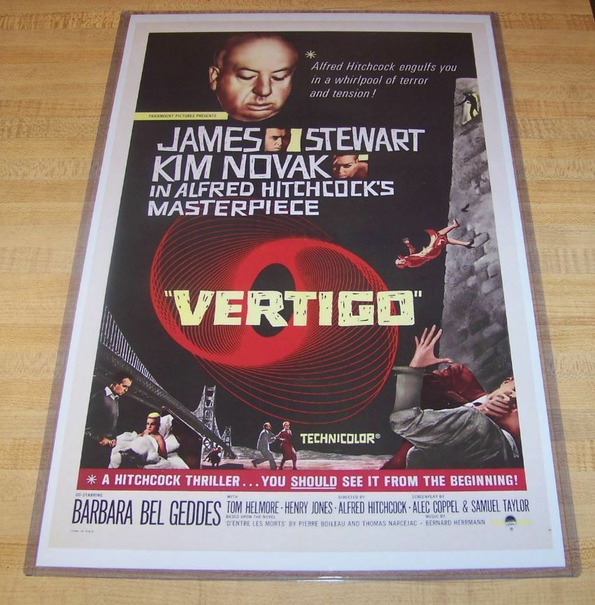 Vertigo Alfred Hitchcock James Stewart Vintage-Style 12x18 Movie Poster 1958
