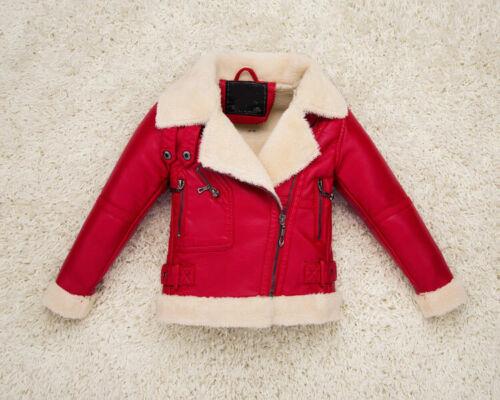 Cool Fleece-lined Biker Black Outerwear Coat Kids PU Leather Warm Outwear Jacket