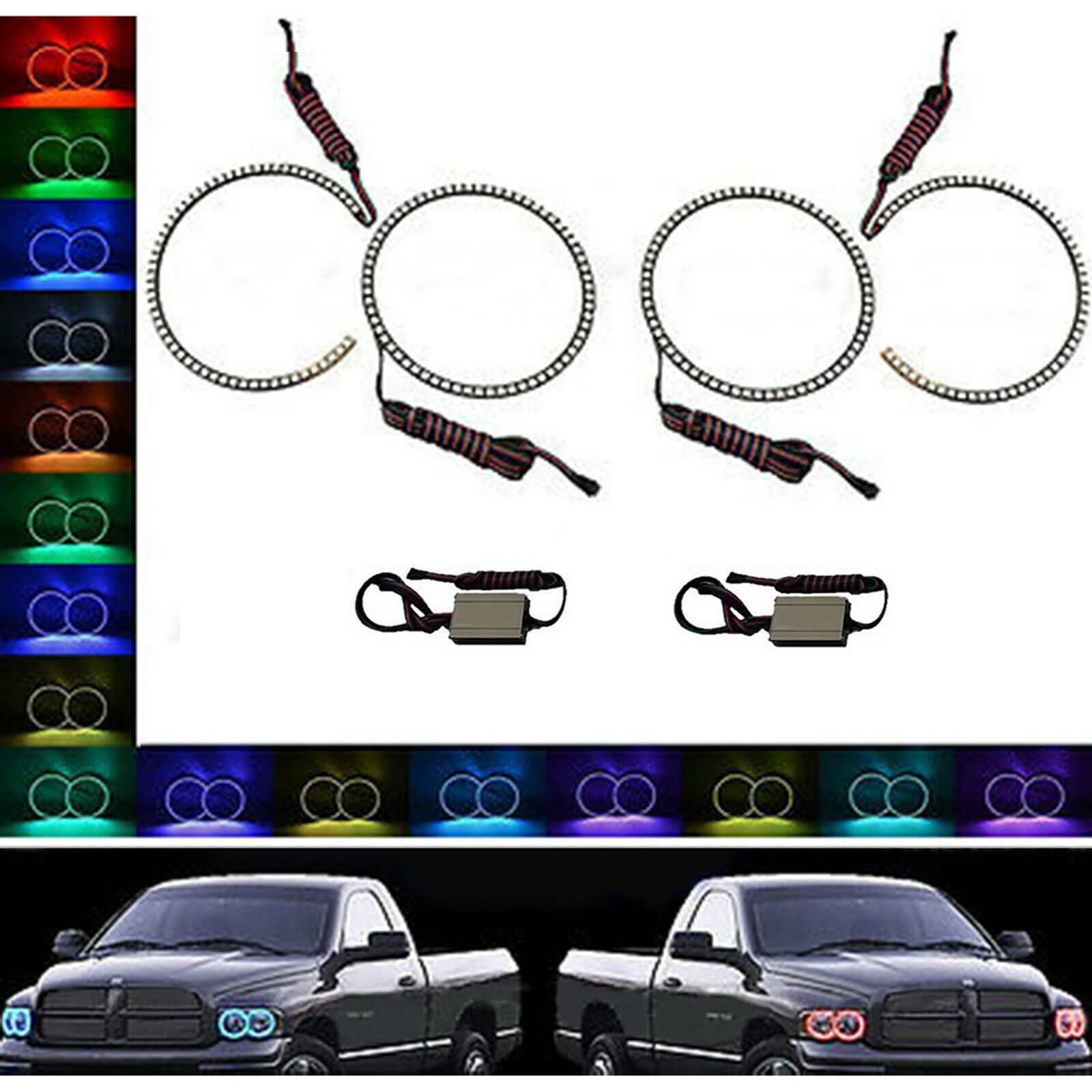 Multi-Color Changing LED RGB Headlight Halo Ring Set For 02-05 Dodge Ram Sport