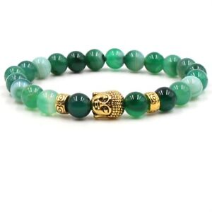 8MM-Natural-Green-Agate-Gold-Buddha-Head-Fashon-Men-Woman-Beaded-Beads-Bracelet