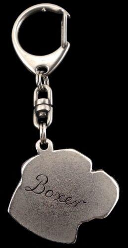 versilbert Schlüsselanhänger mit einem Hund Box Art Dog DE Boxer