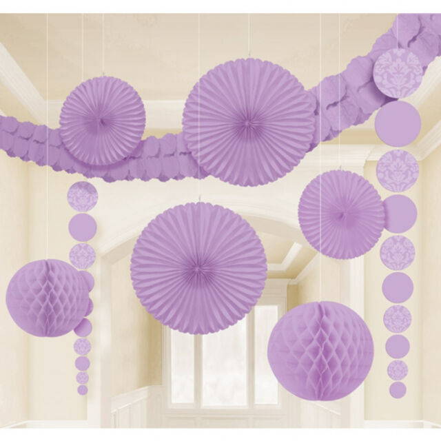 9 x Lilac Hanging Paper Party Decorations Fans Honeycombs garland Lavender Party