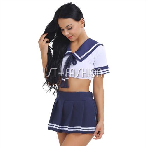 2Pcs Damen und Mädchen Rollenspiel Kostüm Schule Matrose Uniform Fancy Cosplay
