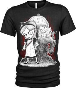Enfants-Garcons-Filles-Gothique-Alice-au-pays-des-merveilles-T-shirt-Evil-Mad-cauchemar