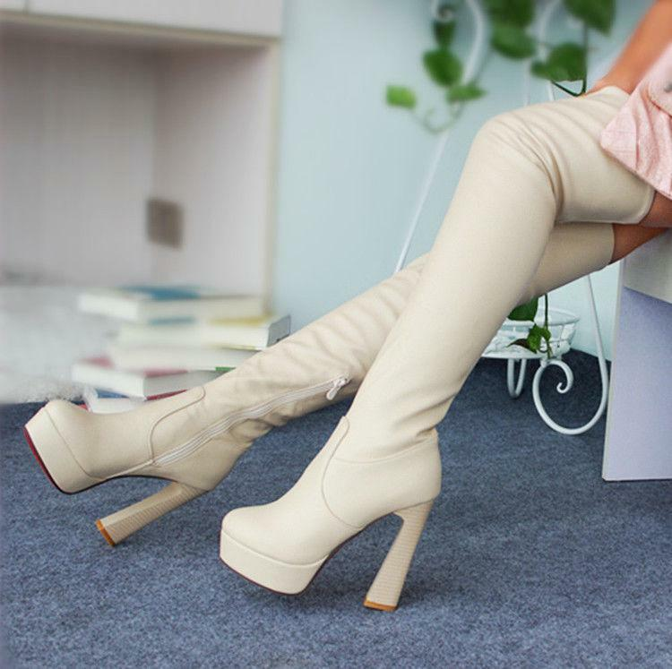 New Women's Thigh High Stretch Over The Knee Boots Side Zipper Chunky Heel shoes