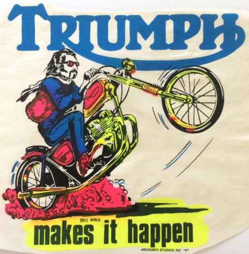 Details about  /Original Vintage Triumph Iron On Transfer DAYGLO Motorcycle