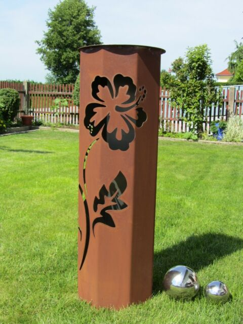 Säule HIBISKUS Edelrost Rost Stele  Gartendeko rostig Stele Dekoration Blume