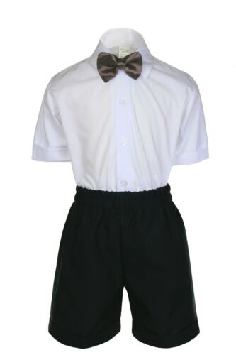 Boys Infant Toddler Formal Black Vest Sets Shorts Suits EXTRA COLOR Bow tie 0-4T