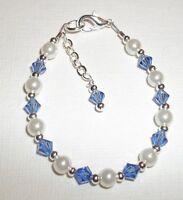 Child Girl Bracelet: Sapphire Crystal, Pearl & Silver September Birthstone