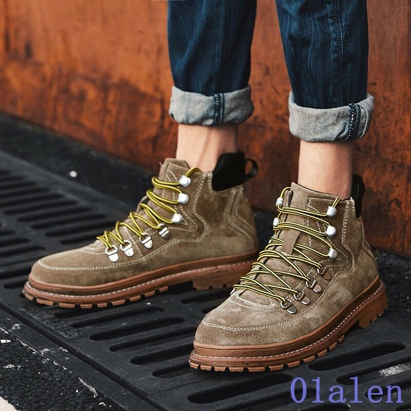 Fashion Mens Round Toe Lace Up Breathable Leather Skidproof Normal Leisure shoes