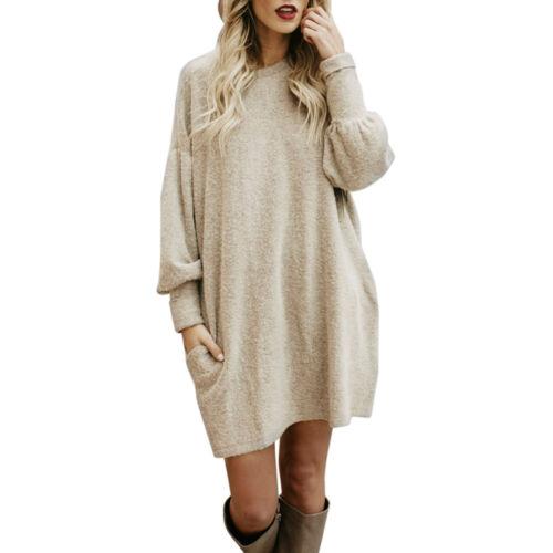 Femmes mode solide O-cou poche Long pull à occasionnels lâche Pullover