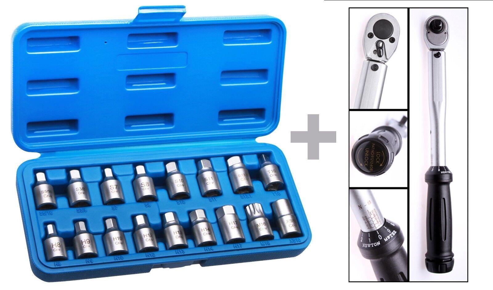 Douilles pour bouchons de vidange 3 8  + Clé dynamométrique 20-100 NM 3 8