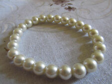 Shiny Cream Faux Pearl Plastic Elasticated Bracelet - 8mm Beads