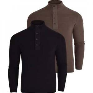 Duck-and-Cover-Mens-1-4-Zip-Jumper-Cotton-Button-Knitwear-Top-Concealed-Zip